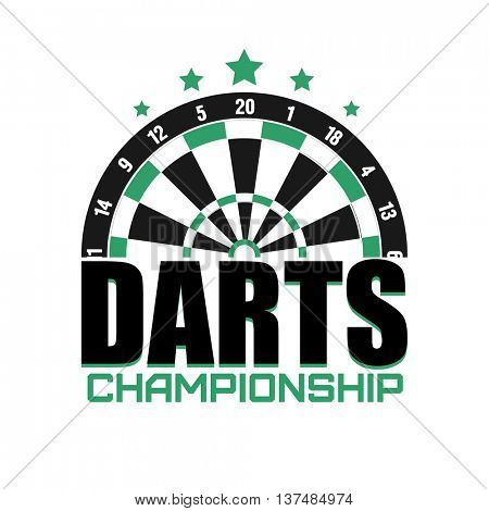 Darts game label. Badge or Logo. Sporting symbol. Darts, dartboard, ribbon for leisure design. Vector Illustration.