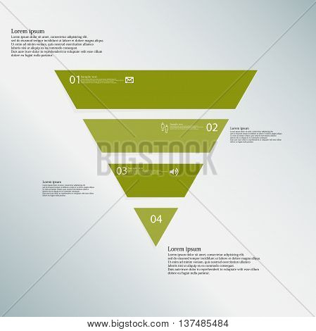 Illustration infographic template with shape of triangle. Object horizontally divided to four parts with green color. Each part contains Lorem Ipsum text number and simple sign. Background is blue.