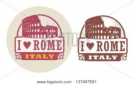 Stamp set with Colosseum and the word Love Rome, Italy inside, vector illustration