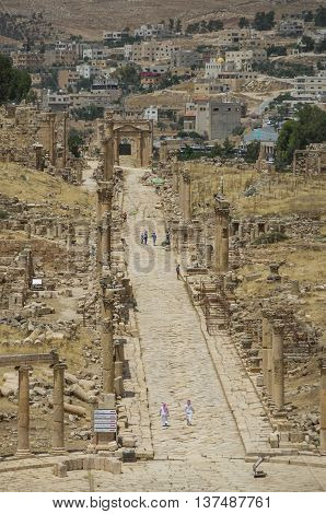 Columns of the cardo maximus Ancient Roman city of Gerasa of Antiquity modern Jerash Jordan