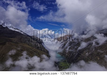 View To Clouds Over Lagunas De Llanganuco From Mountain Pass In Huascaran National Park, Cordillera