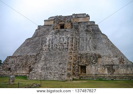 Great Pyramid of Uxmal Yucatan in  Mexico