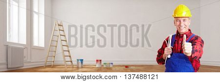 Electrician during renovation in empty room holding thumbs up (3D Rendering)