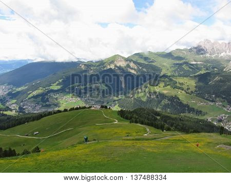 Panoramic mountain view of the Dolomites from Champinoi mountain Selva di Valgardena South Tyrol - Italy