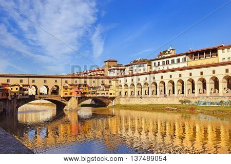 view of embankment of the river Arno, Florence, Tuscany, Italy