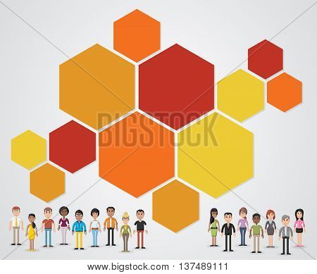 Colorful vector banners / backgrounds with business people. 3d design. Text box frames. Infographic design.