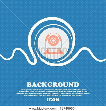 Webcam Sign Icon. Web Video Chat Symbol. Camera Chat. Blue And White Abstract Background Flecked Wit