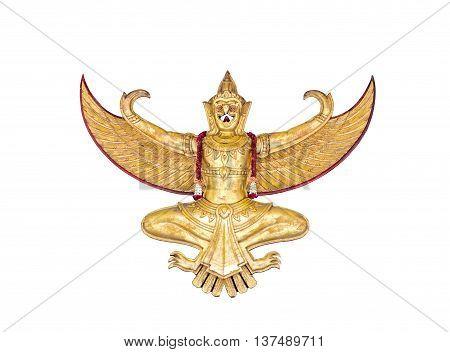 Golden antique garuda statue isolated on white background
