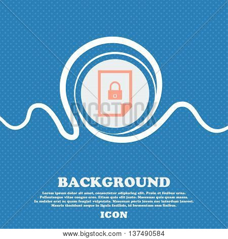 File Locked Icon Sign. Blue And White Abstract Background Flecked With Space For Text And Your Desig