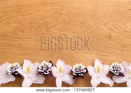Frame with flowers on natural wooden background.