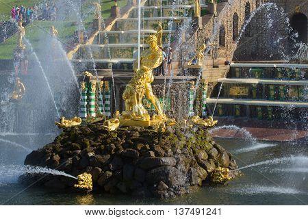 SAINT-PETERSBURG, RUSSIA - JULY 03, 2015: The sculpture