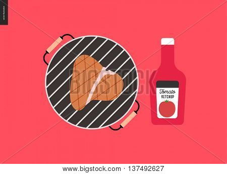 Barbecue grilled meat and ketchup - cartoon flat vector illustration of bbq grill with a piece of grilled meat on it, and a bottle of tomato ketchup