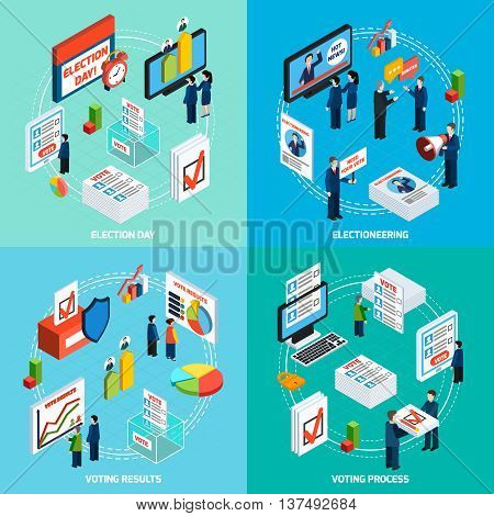 Elections and voting isometric 2x2 design concept with people busy in electioneering debate and voting process flat vector illustration