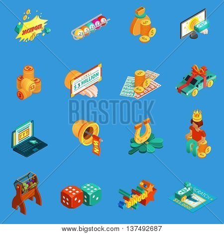 Gambling isometric icons set with jackpot and lottery symbols on blue background isolated vector illustration