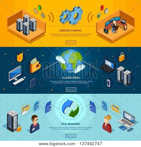 Datacenter isometric three horizontal banners with server tuning cloud data and file sharing design compositions flat vector illustration