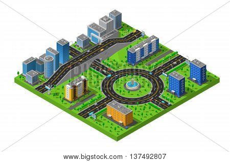 City business and residential districts isometric map poster with circular roundabout intersection with central island abstract vector illustration