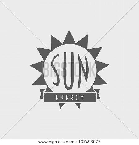Sun energy logo label design concept with sun and ribbon. Sun energy vector symbol template