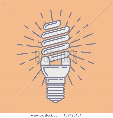 Vector Efficient Energy Saving Fluorescent Light Bulb Icon. Line Art Symbol Template