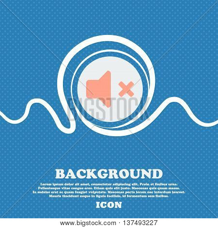 Mute Speaker , Sound  Sign Icon. Blue And White Abstract Background Flecked With Space For Text And