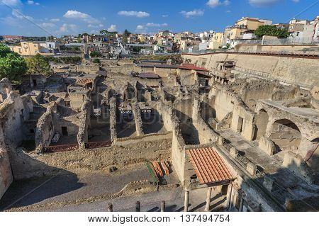 Herculaneum archeological site hentrance and view of the