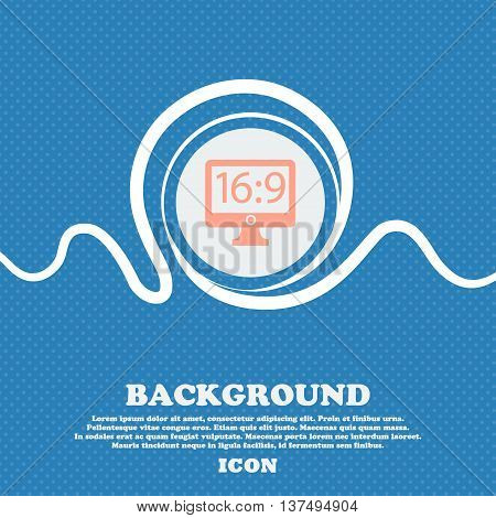 Aspect Ratio 16 9 Widescreen Tv Icon Sign. Blue And White Abstract Background Flecked With Space For