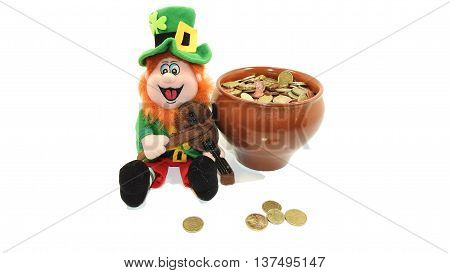 Green Leprechaun Toy. On white background with pot of coins