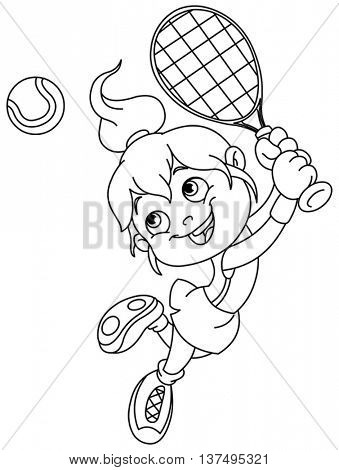 Outlined young girl playing tennis. Vector illustration coloring page.