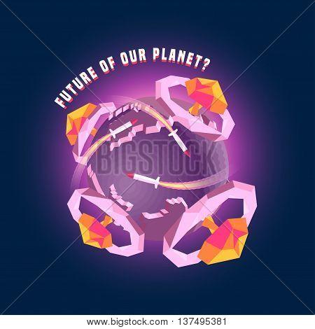 Little planet 3d Earth vector concept illustration. Nuclear war bomb mushrooms explosive design elements