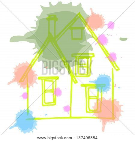 Graphic image of a house with a pipe. Abstract drawing of a house with blots on paper. Sloppy picture of the child vector illustration