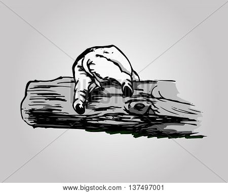 A graphical image of a funny elephant. An abstract pattern in grey - baby elephant can't climb over a log (back view). Vector illustration