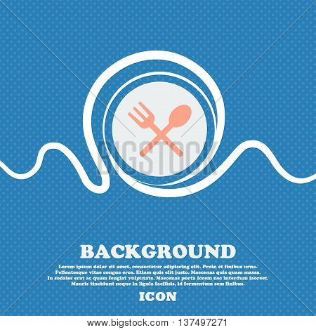 Fork And Spoon Crosswise, Cutlery, Eat Icon Sign. Blue And White Abstract Background Flecked With Sp