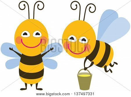 Funny bee - the vector color illustration icon