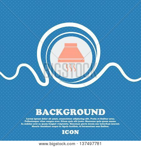 Kitchen Hood Icon Sign. Blue And White Abstract Background Flecked With Space For Text And Your Desi