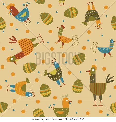 Funny hen seamless background - the vector color illustration