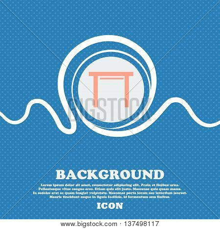 Stool Seat Icon Sign. Blue And White Abstract Background Flecked With Space For Text And Your Design