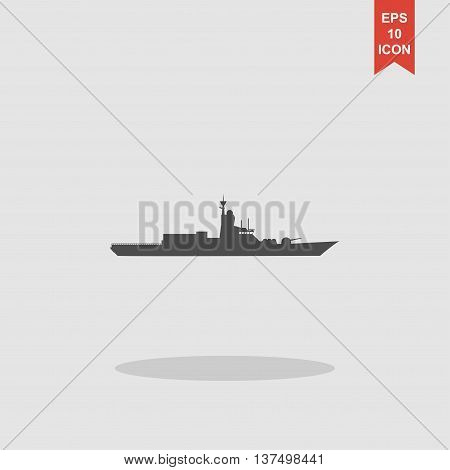Silhouette Of A Large Warship. Vector Concept Illustration For Design