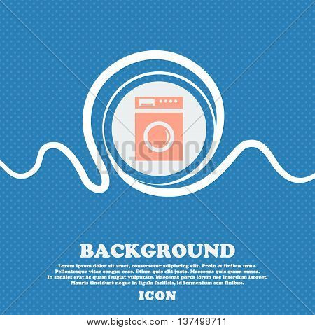 Washing Machine Icon Sign. Blue And White Abstract Background Flecked With Space For Text And Your D