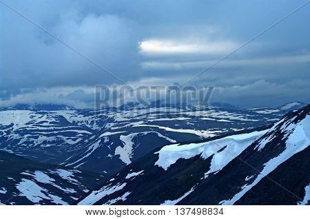 Landscape of Polar Ural mountains.  Nature background
