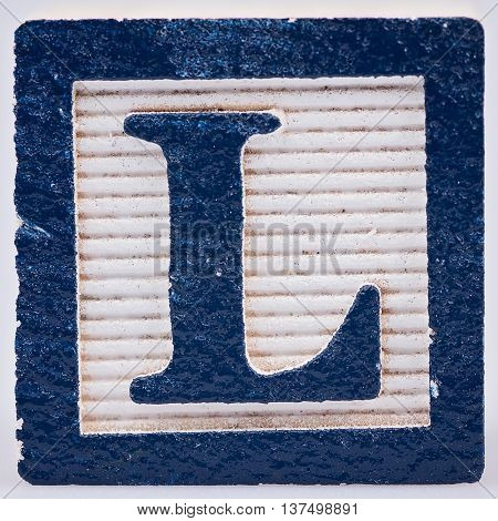 Letter L blue painted wood block distressed