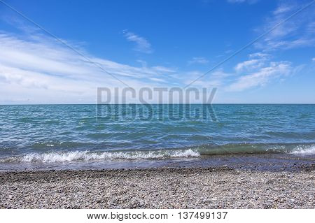 Pebble Beach by Lake Erie on a Sunny Day