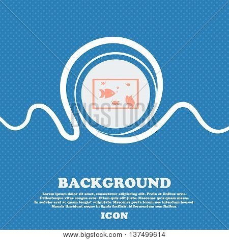Aquarium, Fish In Water Icon Sign. Blue And White Abstract Background Flecked With Space For Text An
