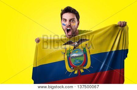 Fan holding the flag of Ecuador