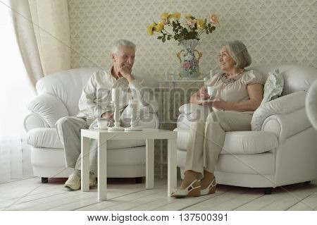 happy Senior couple resting at home with tea cups