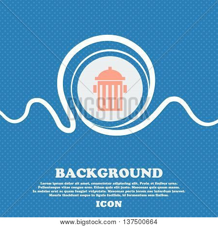 Fire Hydrant Icon Sign. Blue And White Abstract Background Flecked With Space For Text And Your Desi