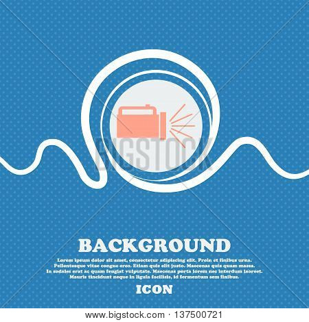 Flashlight Icon Sign. Blue And White Abstract Background Flecked With Space For Text And Your Design
