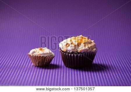Chocolate Velvet Cupcakes With Vanilla Ice Cream Topping Isolate
