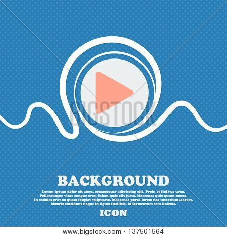 Play  Sign Icon. Blue And White Abstract Background Flecked With Space For Text And Your Design. Vec