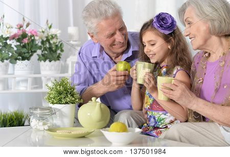 Portrait of happy grandparents  and  little girl with tea at home