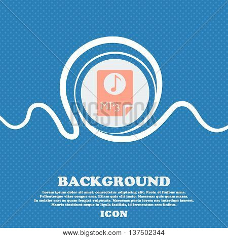 Audio, Mp3 File Icon Sign. Blue And White Abstract Background Flecked With Space For Text And Your D