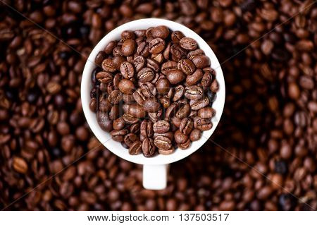 African Fresh Bio Coffee Beans With Cup, Detail View From Top